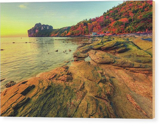 Sunset In Phi-phi Don Island, Thailand Wood Print by Moreiso