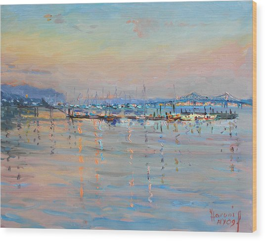 Sunset In Piermont Harbor Ny Wood Print