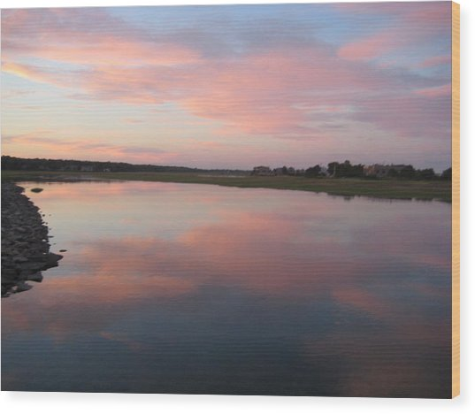 Sunset In Pink And Blue Wood Print