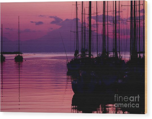 Sunset In Pink And Purple With Yachts At Bay Wood Print
