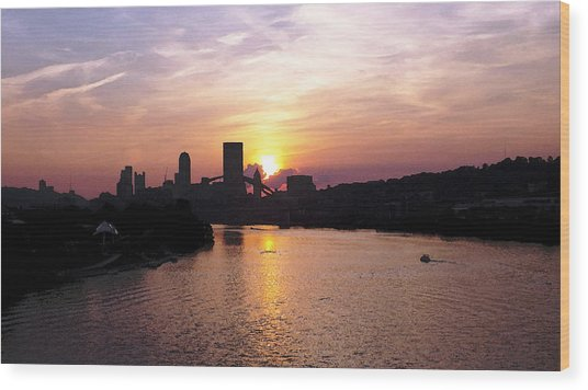 Sunset In Pittsburgh Wood Print