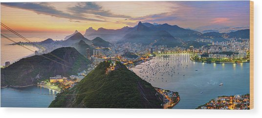 Sunset In Rio De Janeiro Wood Print by Anna Gibiskys