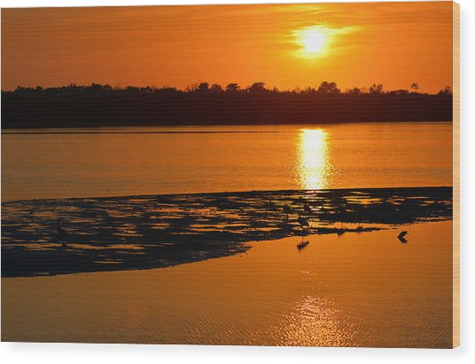 Sunset In Sanibel Wood Print