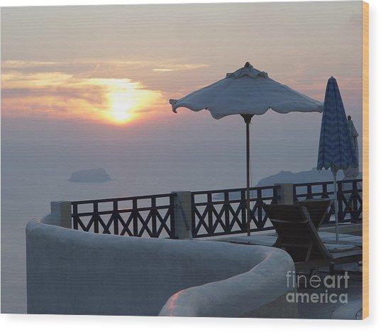 Sunset In Santorini Wood Print