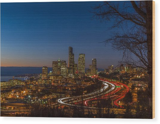 Sunset In Seattle Wood Print