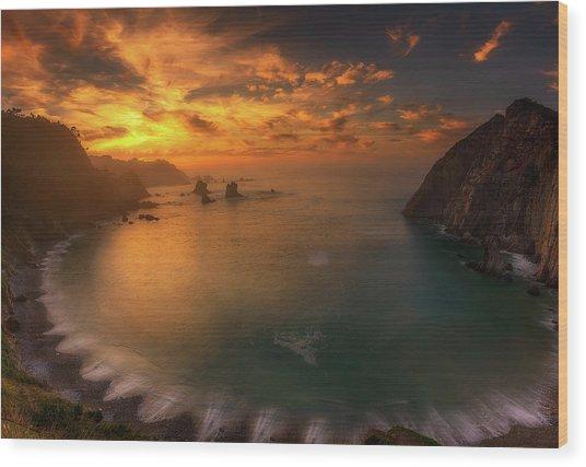 Sunset In Silence Wood Print by Alfonso Maseda Varela