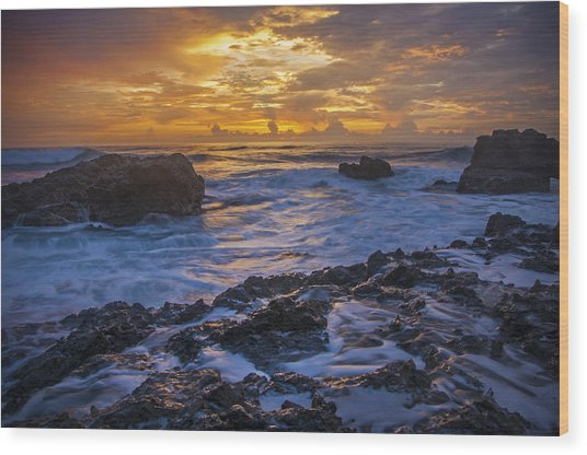 Sunset In Tamarindo Wood Print