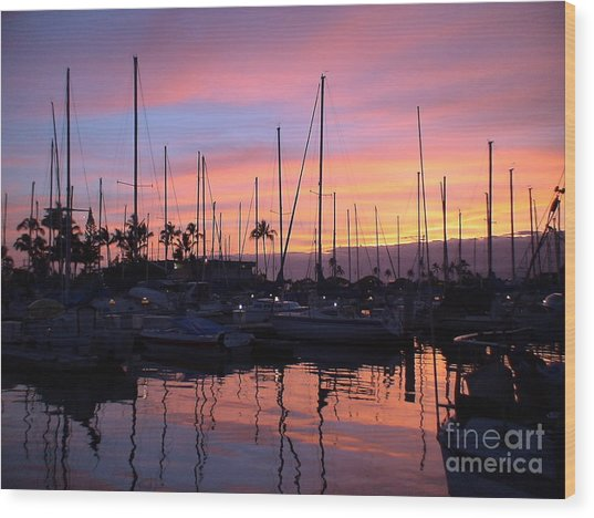 Sunset In The Ala Wai Wood Print