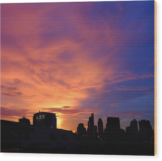 Sunset In The City Wood Print