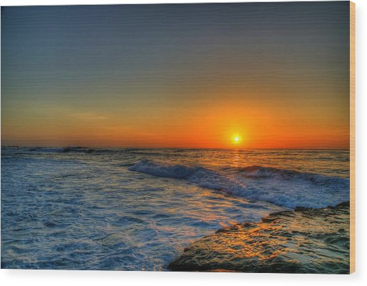 Sunset In The Cove Wood Print