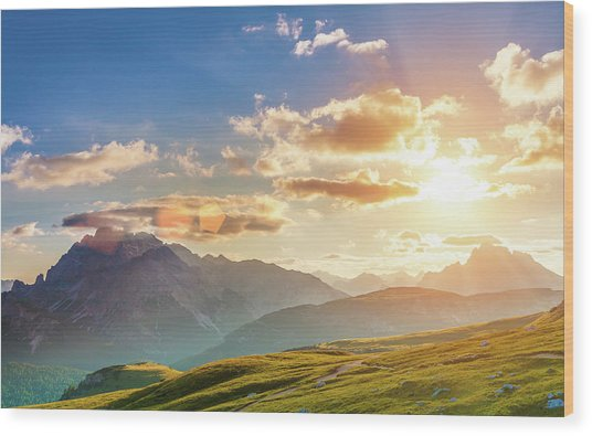 Sunset In The Mountains Wood Print by Peter Zelei Images