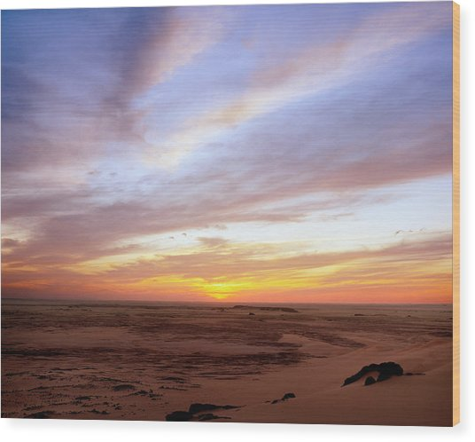 Sunset In The Sahara Wood Print