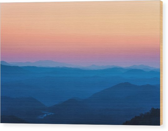 Sunset In The Smoky Mountains 1 Wood Print