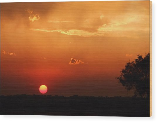 Sunset In West Texas Wood Print