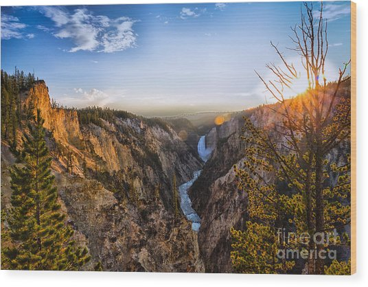 Sunset In Yellowstone Grand Canyon Wood Print