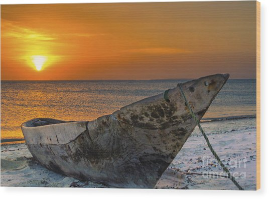 Sunset In Zanzibar - Kendwa Beach Wood Print by Pier Giorgio Mariani