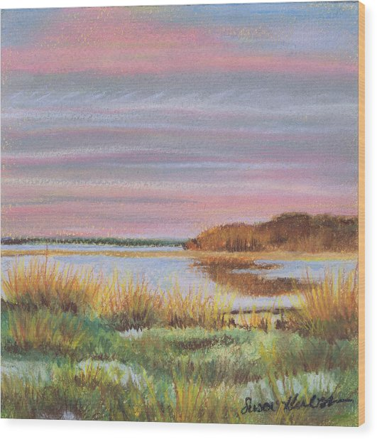 Sunset Jessups Neck Wood Print by Susan Herbst