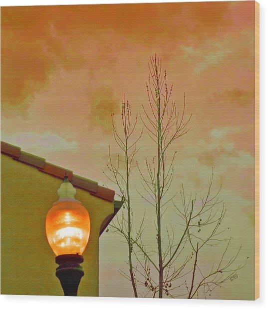 Sunset Lantern Wood Print