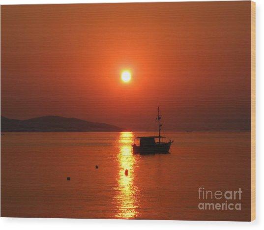 Sunset Wood Print by Laurentiu Pavel