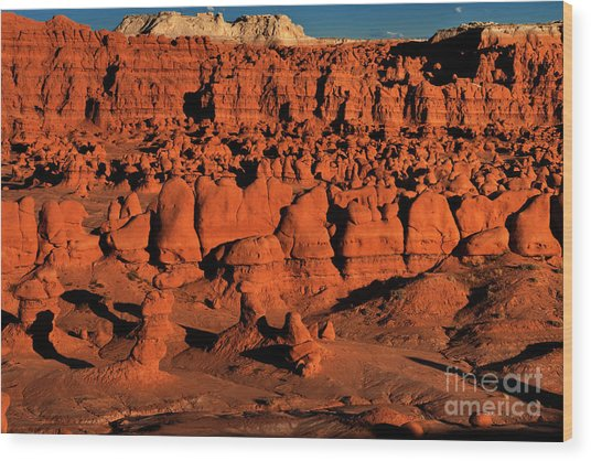 Sunset Light Turns The Hoodoos Blood Red In Goblin Valley State Park Utah Wood Print