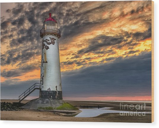 Sunset Lighthouse Wood Print