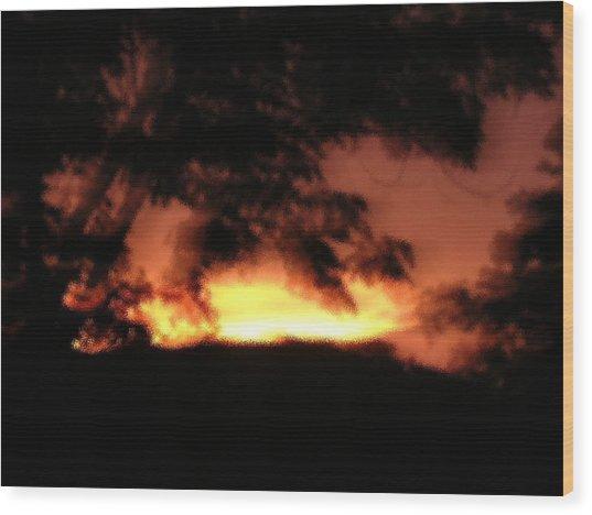 Sunset Liquid Splash Wood Print by Dusty Reed
