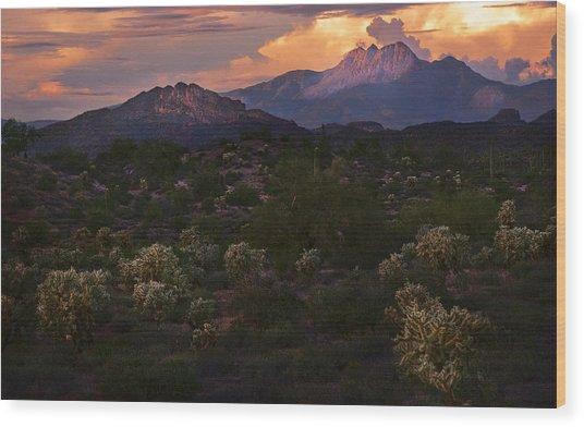 Sunset Lit Cactus Over Four Peaks Wood Print