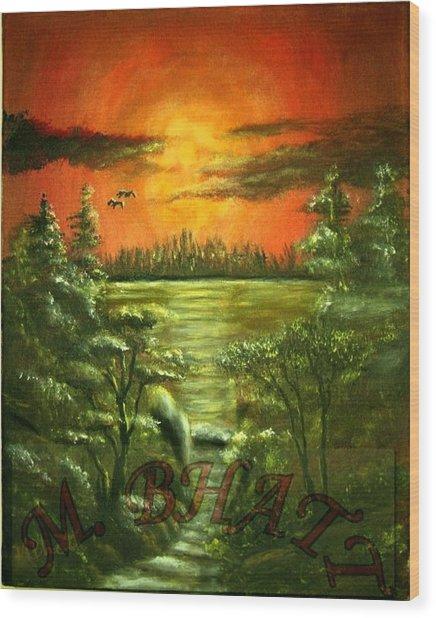 Sunset Wood Print by M bhatt