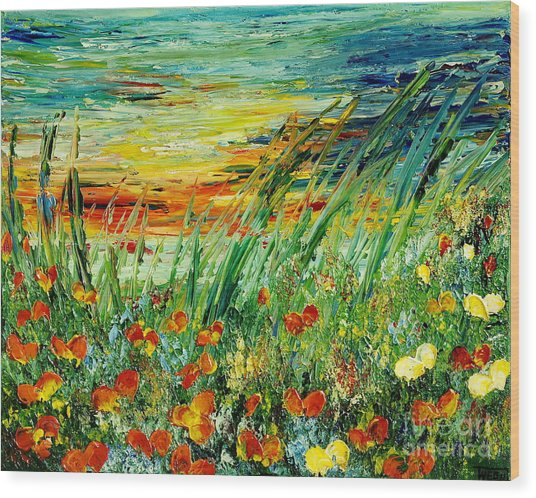 Sunset Meadow Series Wood Print