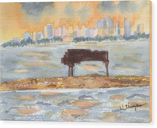 Sunset Miami Piano Bar  Wood Print