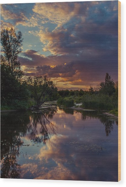 Sunset Mirror Wood Print