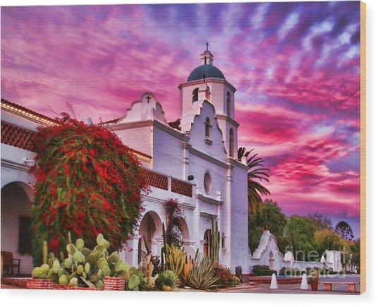 Sunset Mission San Luis Rey De Francia By Diana Sainz Wood Print