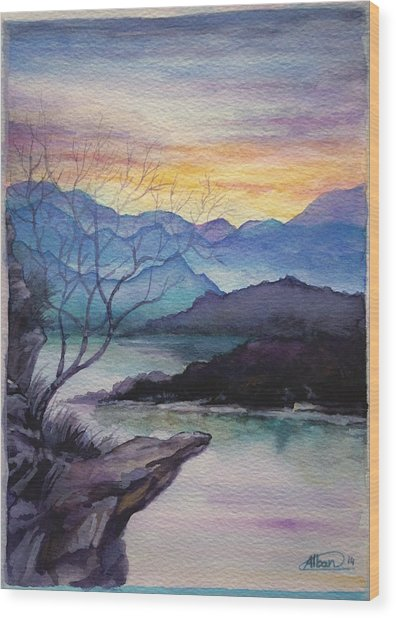 Sunset Montains Wood Print