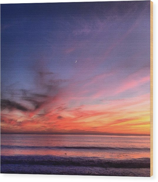Sunset Moon Rise Wood Print
