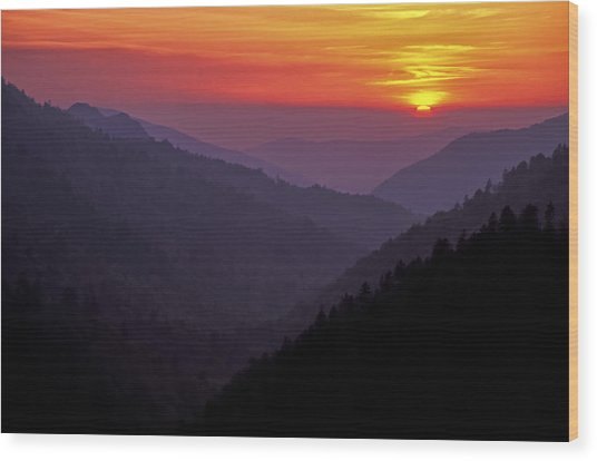 Sunset Morton Overlook Wood Print