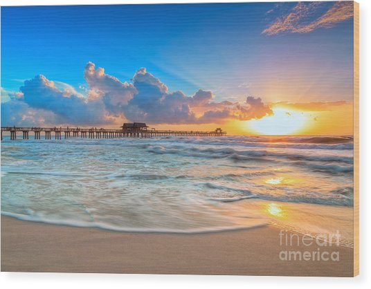 Sunset Naples Pier Wood Print