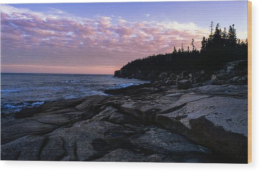 Sunset Near Otter Cliffs Wood Print