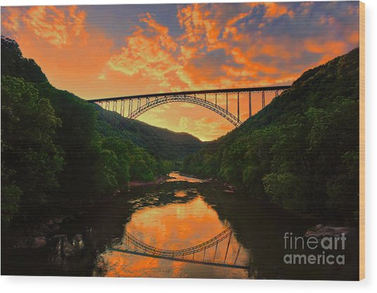 Sunset New River Gorge Wood Print