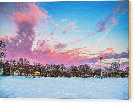 Sunset North Of Chicago Lake Michigan 1-19-14 Wood Print by Michael  Bennett