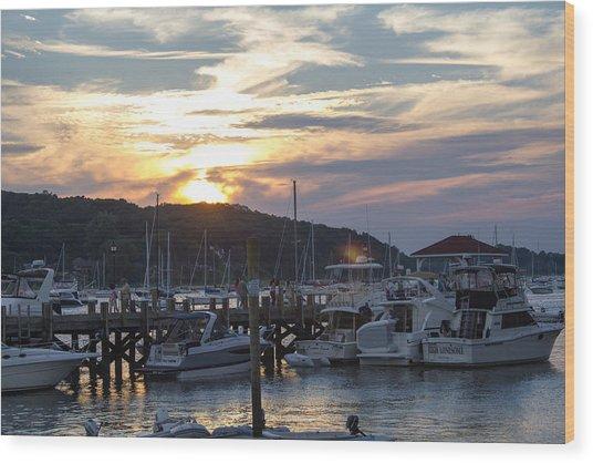 Sunset Northport Dock Wood Print