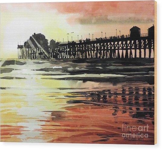 Sunset Oceanside Pier Wood Print
