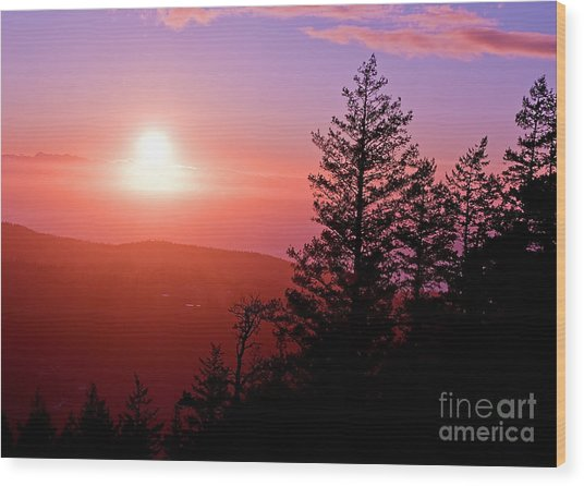 Sunset Off Mt Erie Washington Art Prints Wood Print