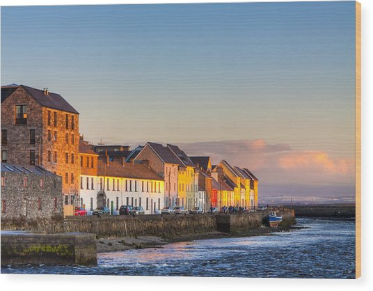 Sunset On A Beautiful Winter Day In Galway Ireland Wood Print