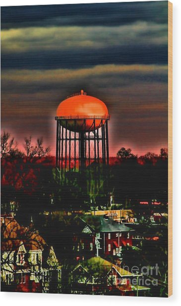 Sunset On A Charlotte Water Tower By Diana Sainz Wood Print