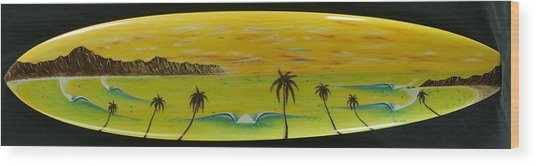 Sunset On A Surfboard Wood Print
