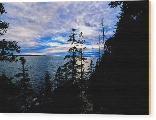 Sunset On Bass Harbor Wood Print
