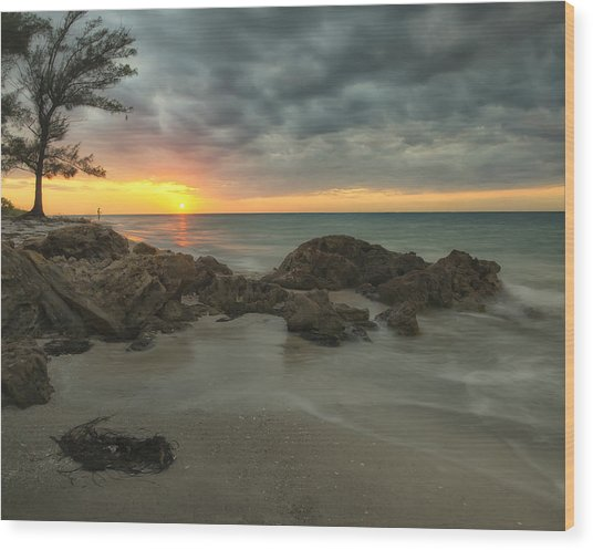 Sunset On Bean Point Wood Print