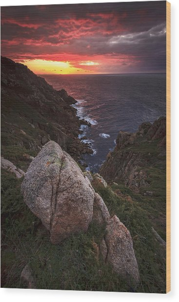 Sunset On Cape Prior Galicia Spain Wood Print