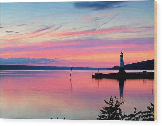 Sunset On Cayuga Lake Ithaca New York Wood Print
