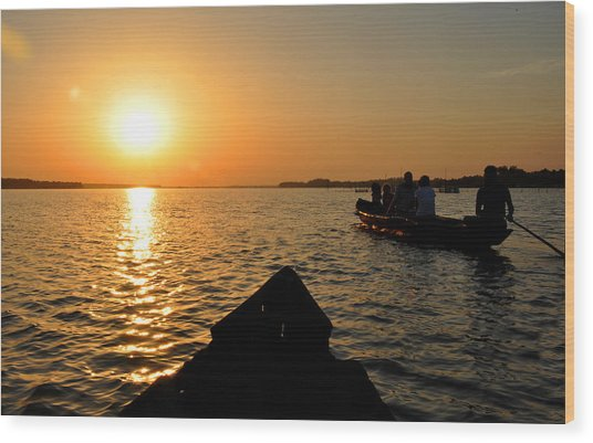 Sunset On Chilika Lake Orissa India Wood Print